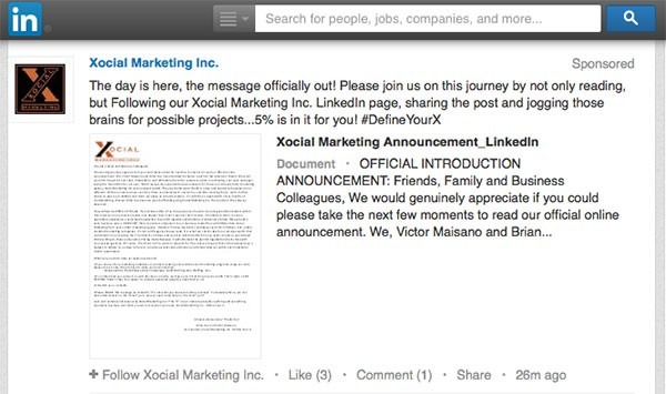 LinkedIn Native Advertising