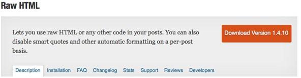 Raw HTML plugin