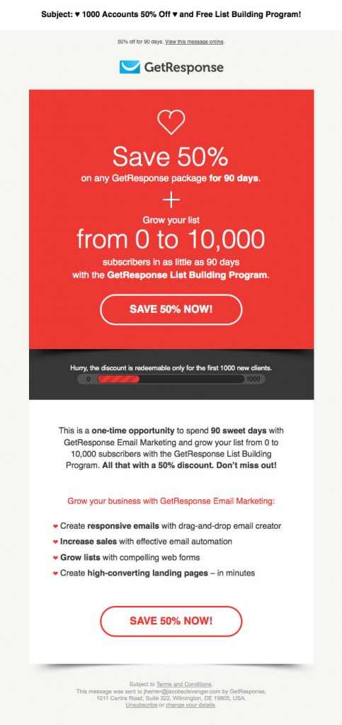 "GetResponse Valentine""s Day email"